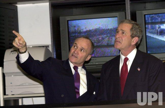 President George W Bush visits New York City's Police Command Center