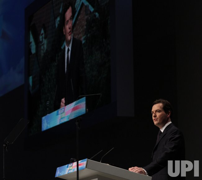Shadow Chancellor George Osborne gives his Party Conference speech in Manchester