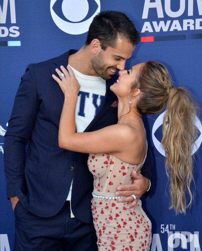 Eric Decker and Jessie James Decker attend the Academy of Country Music Awards in Las Vegas