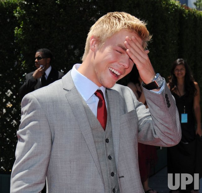 Derek Hough arrives at the Creative Arts Emmy Awards in Los Angeles