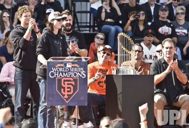 Giants Tim Lincecum speaks at a civic celebration for the world champions in San Francisco
