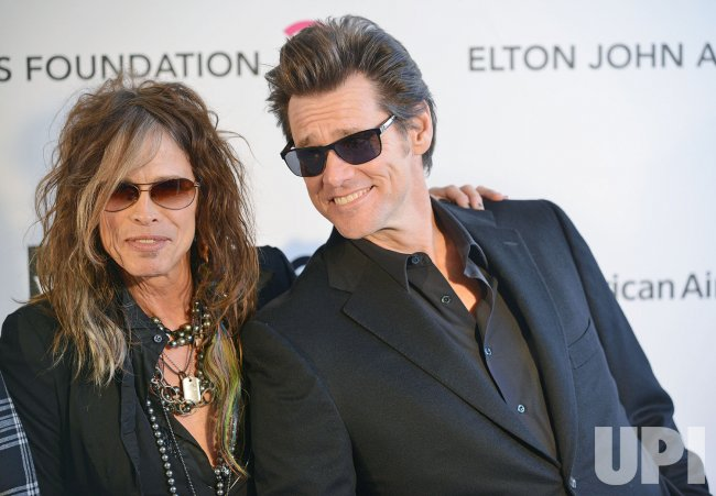 Steven Tyler and Jim Carrey attend the Elton John AIDS Foundation Oscar viewing party