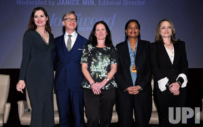 Gina Davis, Paul Feig, Amy Miles, Vanessa Morrison and Nina Jacobson poses at the 2013 CinemaCon in Las Vegas