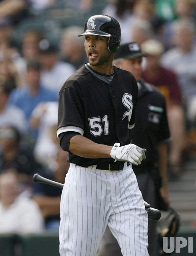 Chicago White Sox's Alex Rios strikes out against the Boston Red Sox in Chicago