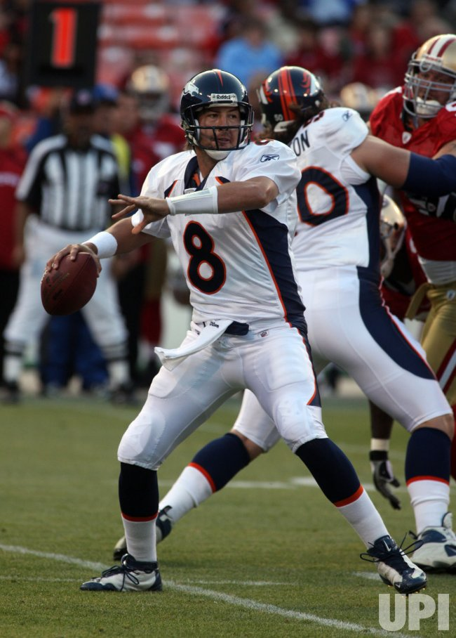 Denver Broncos QB Kyle Orton passes in preseason football San Francisco 49ers vs Denver Broncos