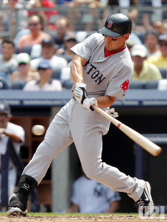Boston Red Sox Jacoby Ellsbury hits a single at Yankee Stadium in New York
