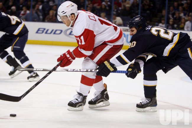 Detroit Red Wings Dan Cleary and St. Louis Blues Alex Steen