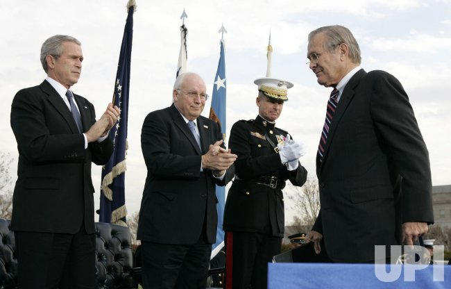 OUTGOING SECRETARY OF DEFENSE DONALD RUMSFELD HONORED AT THE PENTAGON