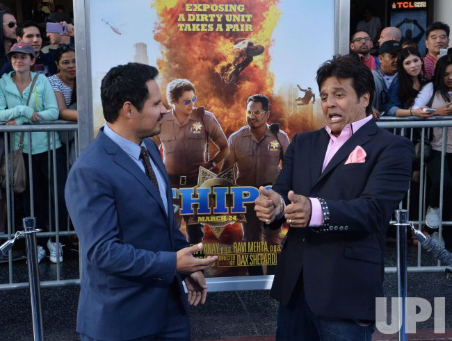 "Erik Estrada and Michael Pena attend the ""CHIPS"" premiere in Los Angeles"