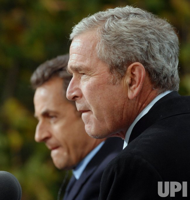 President Bush, French President Sarkozy speak to the press after touring Mount Vernon