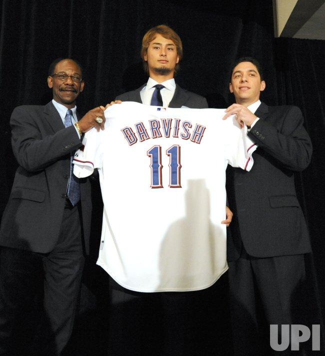 Texas Rangers introduce Japanese pitcher Yu Darvish in Arlington, TX.