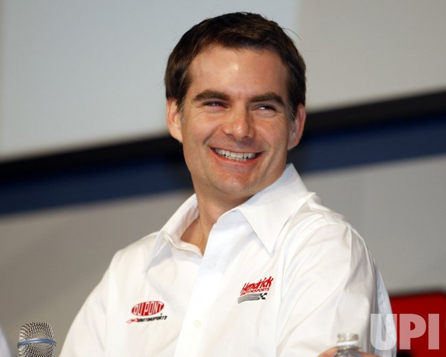 Jeff Gordon answers questions during NASCAR media tour press conference in Concord, North Carolina