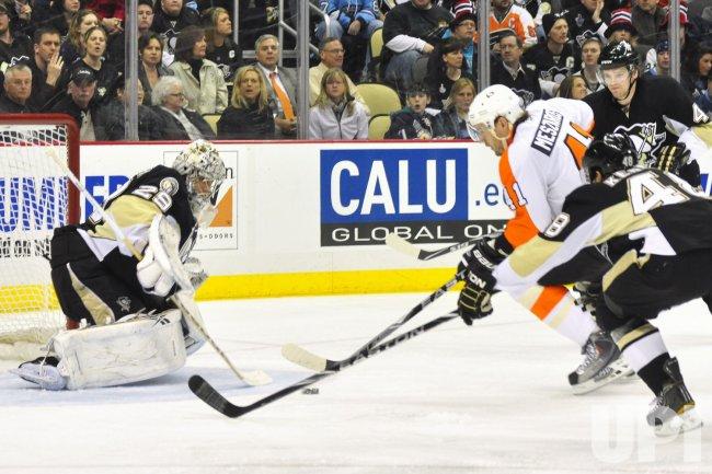 Fleury Blocks Philadelphia Flyers Andrej Meszaros in Pittsburgh