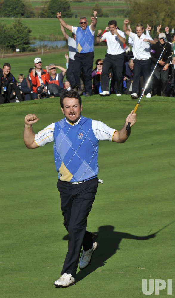 Mcdowell celebrates winning the Ryder Cup