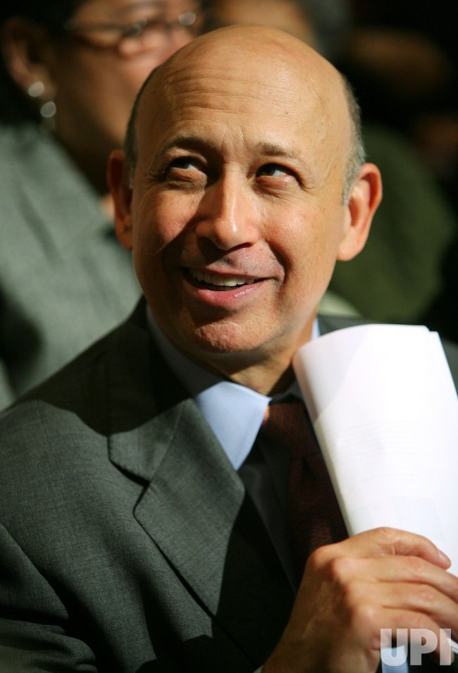 Goldman Sachs CEO Lloyd Blankfein attends Obama speech in New York