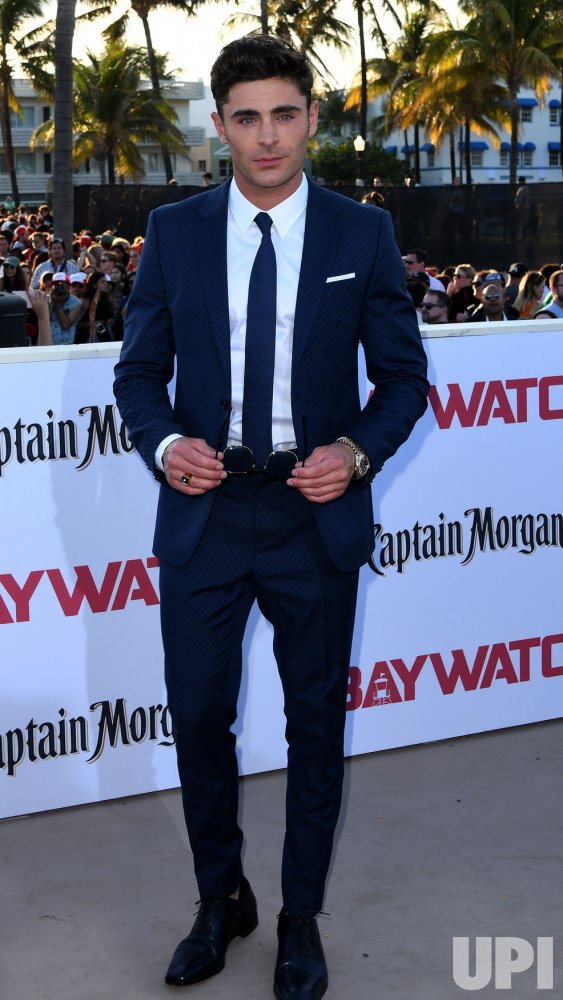 Zac Efron Attends the US Premiere of Baywatch in Miami Beach Florida