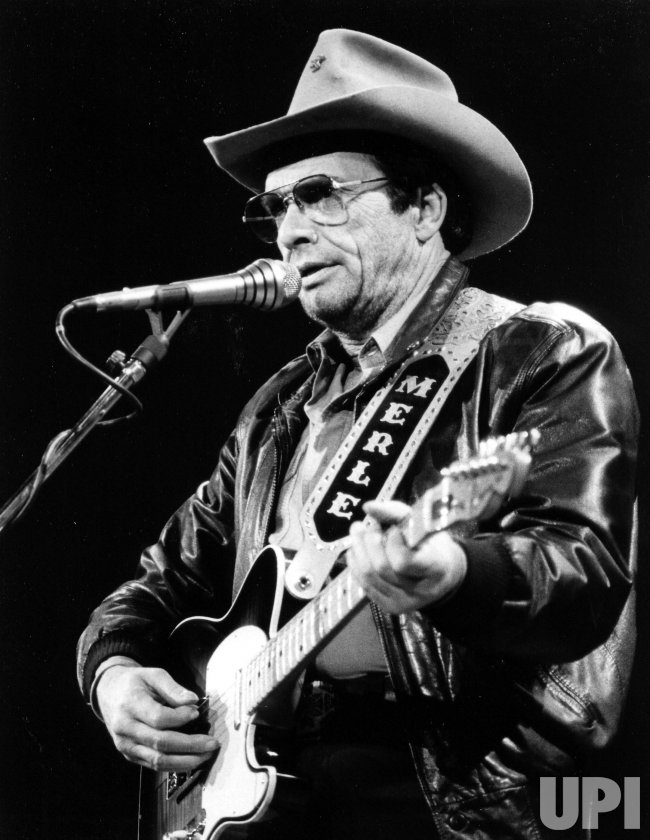 "Merle Haggard is seen playing at ""An Evening of Marlboro Country Music"" at Oakland College."