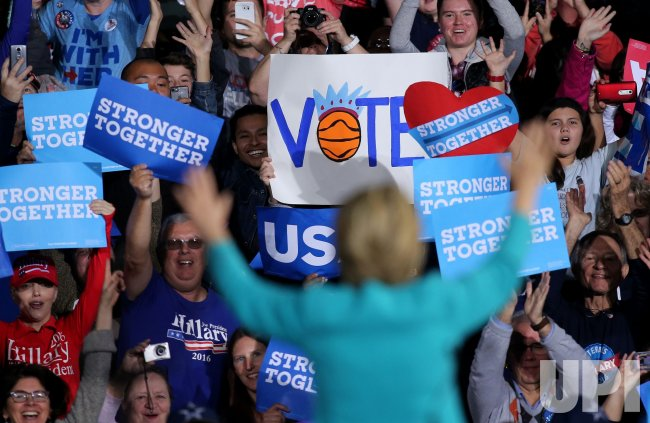 Hillary Clinton holds rally with LeBron James in Cleveland in Cleveland