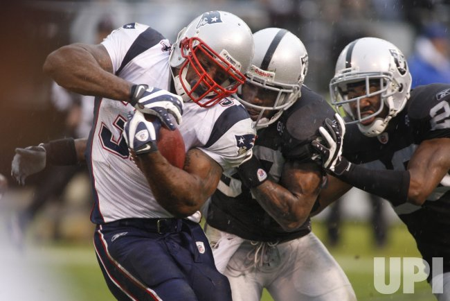 Oakland Raiders vs New England Patriots in Oakland, California