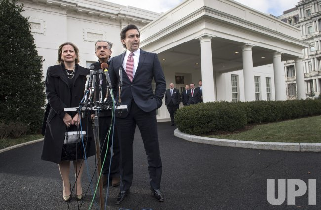 Auto Executives speak to the media following a meeting at the White House