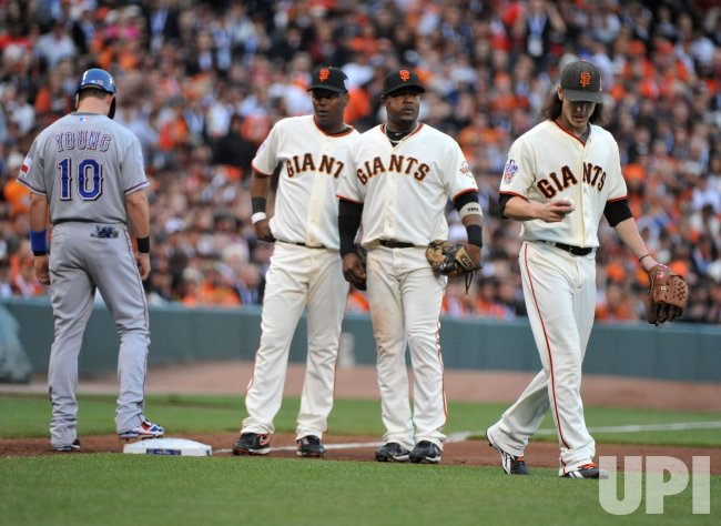 Giants' pitcher Tim Lincecum fails a run down during game 1 of the World Series in San Francisco