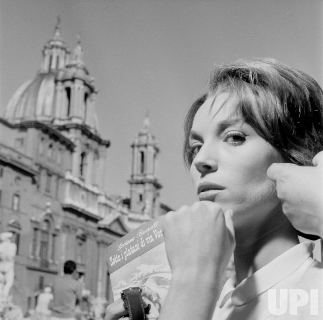 """Actress Elsa Martinelli in Rome during the filming, with co-star Charlton Heston, of """"The Pigeon That Took Rome"""""""