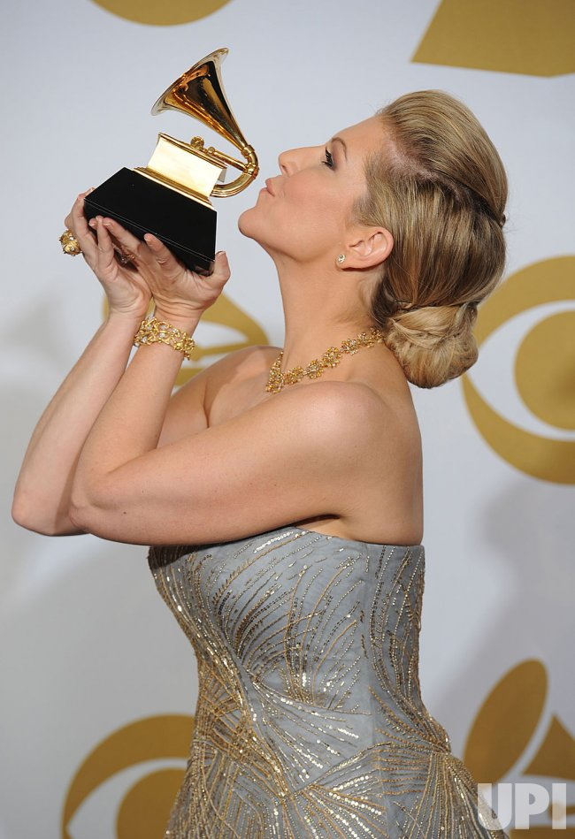 Classical Soloist DiDonato Holds her Grammy at the 54th annual Grammy Awards at the Staples Center in Los Angeles