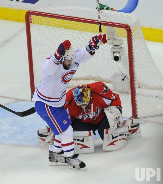 Canadiens Gionta celebrates goal against the Capitals during game 7 in Washington
