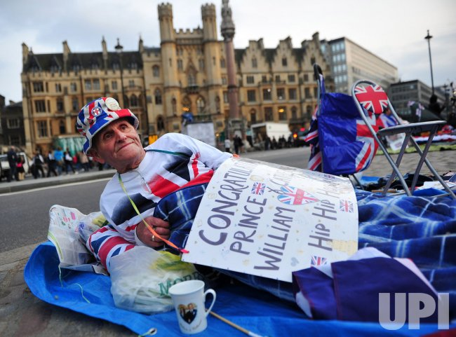 Terry Hutt camps out in front of Westminster Abby for the Royal Wedding in London