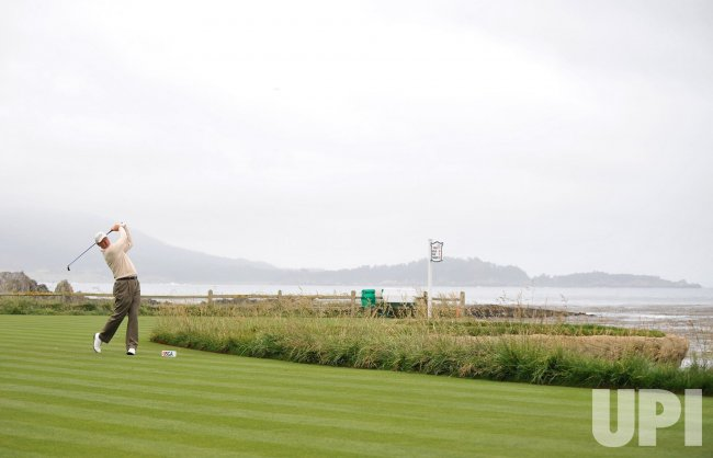 Ernie Els on the 18th tee box during the U.S. Open in Pebble Beach, California