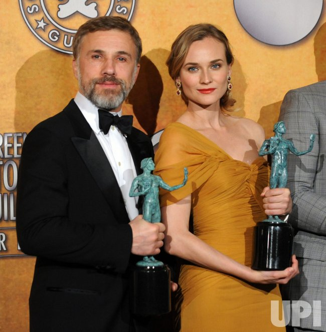 Chrisoph Waltza and Diane Kruger backstage at the 16th Screen Actors Guild Awards in Los Angeles