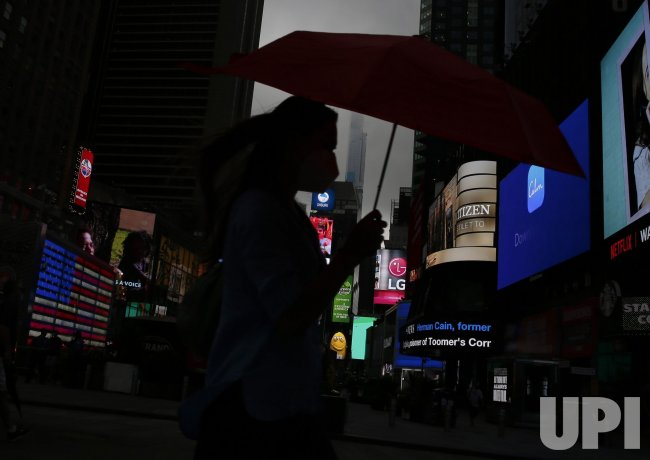 Storm Clouds Hover Over Times Square in New York