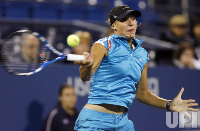 Caroline Wozniacki plays Yanina Wickmayer in the semifinals at the US Open Tennis Championships in New York