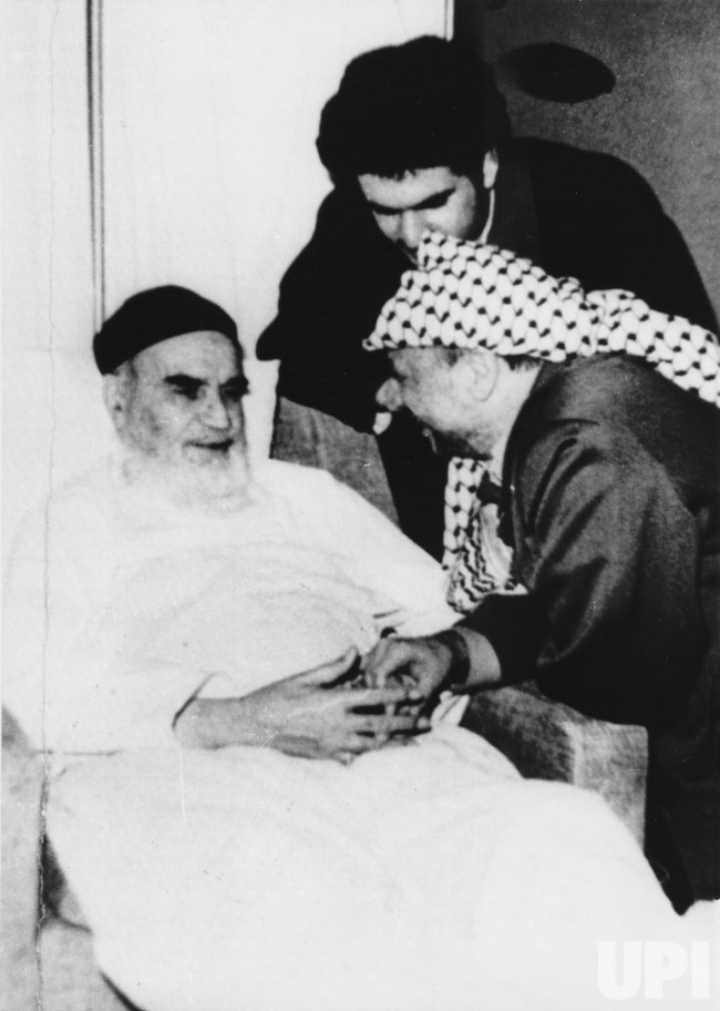Ayatollah Khomeini reunited with PLO Chairman Yasser Arafat in Tehran