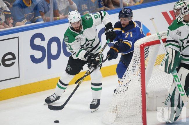 St. Louis Blues Vladimir Sobotka uses stick to stop Dallas Stars Tyler Seguin