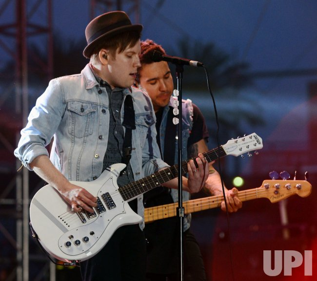 Patrick Stump and Pete Wentz of Fall Out Boy perform at KIIS FM's Wango Tango 2013 in Carson, California