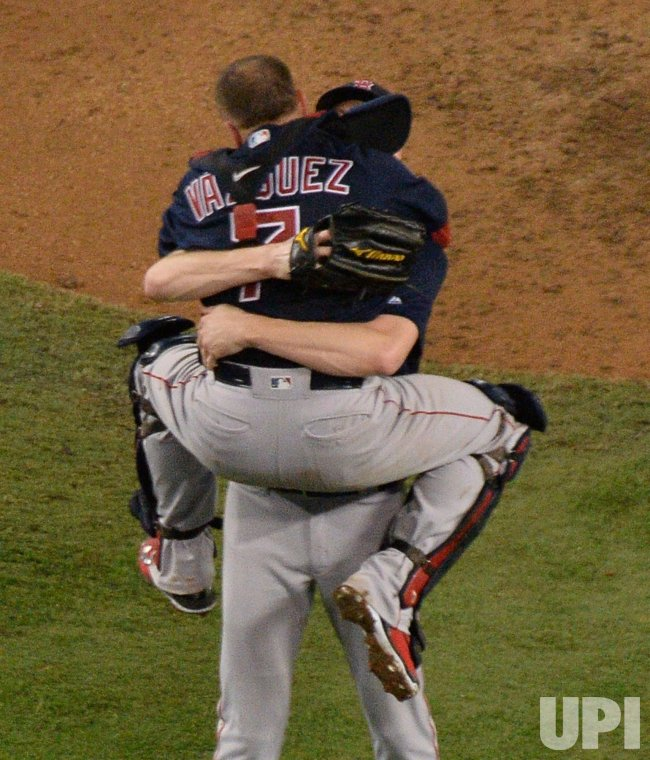 premium selection bccbc b5831 Boston Red Sox closer Chris Sale celebrates winning the ...