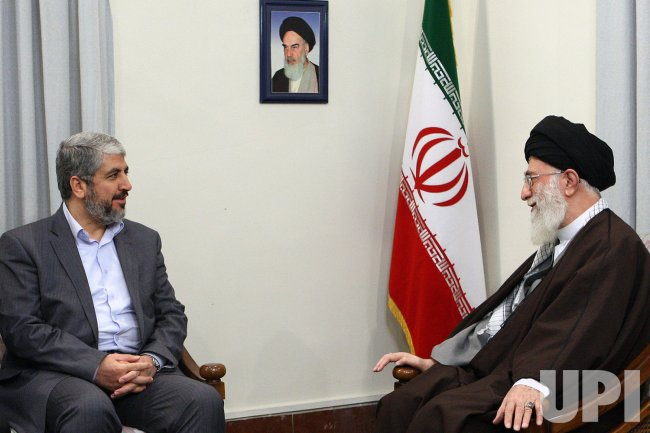 Iran's Supreme Leader Ayatollah khamenei meets with Hamas leader Khaled Meshaal