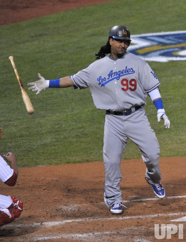Manny Ramirez reacts during game four of the NLCS in Philadelphia