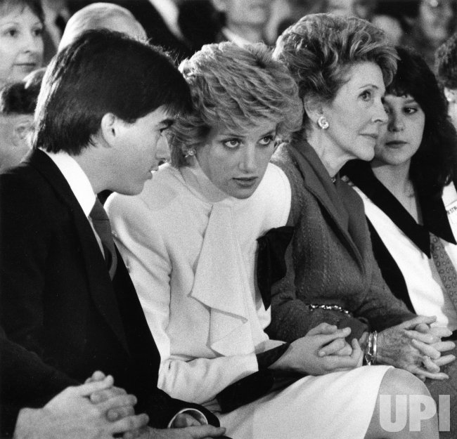 Princess Diana and First Lady nancy Reagan visit Straight Inc. to talk about drug abuse