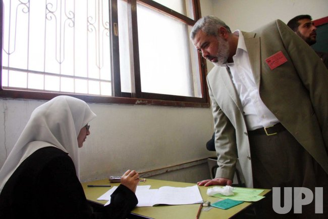Palestinian Prime Minister Ismail Haniyeh visits school in Gaza City