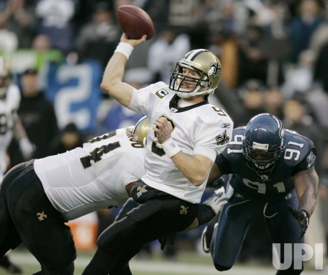New Orleans Saints' quarterback Drew Brees passes against the Seattle Seahawks in Seattle