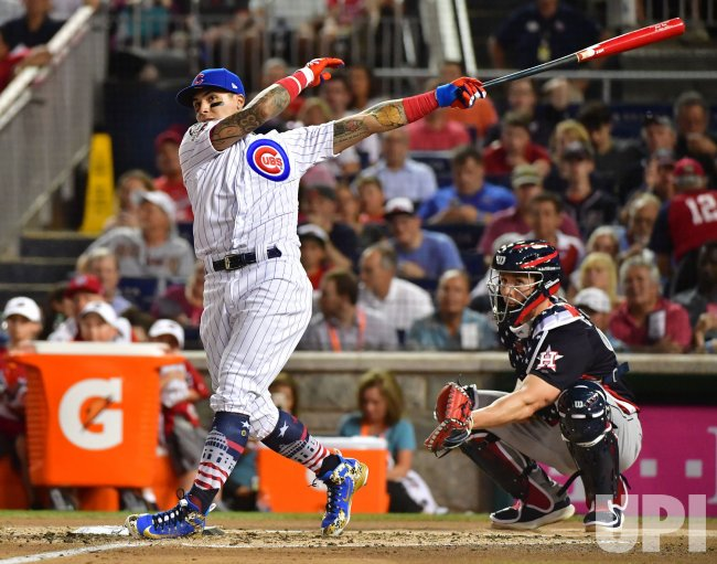 69de10fd4 Chicago Cubs Javier Baez hits in the 2018 Home Run Derby - UPI.com