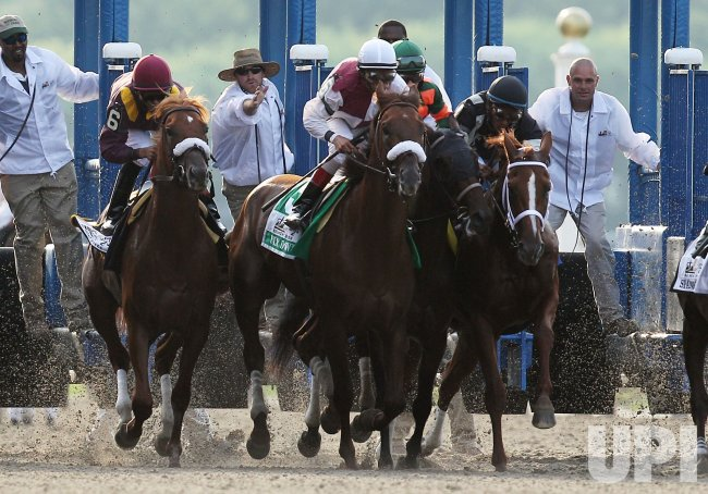 Drosselmeyer and Jockey Mike Smith win the 142nd Belmont Stakes in New York