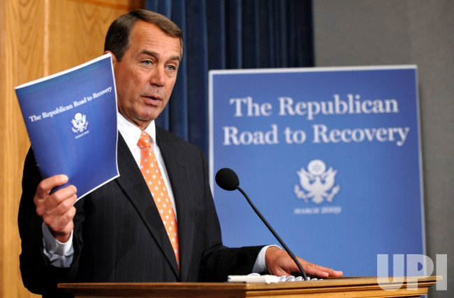 House Minority Leader Boehner releases the Republican budget alternative in Washington