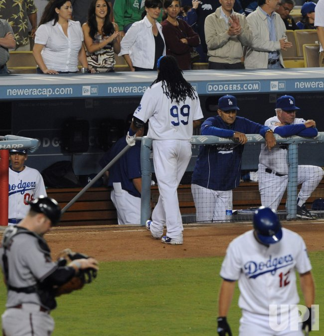Manny Ramirez makes debut as Los Angeles Dodger in Los Angeles