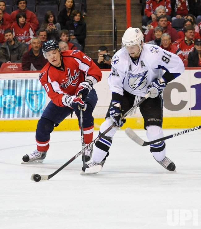 Capitals Semin defends against Lightning Stamkos in Washington