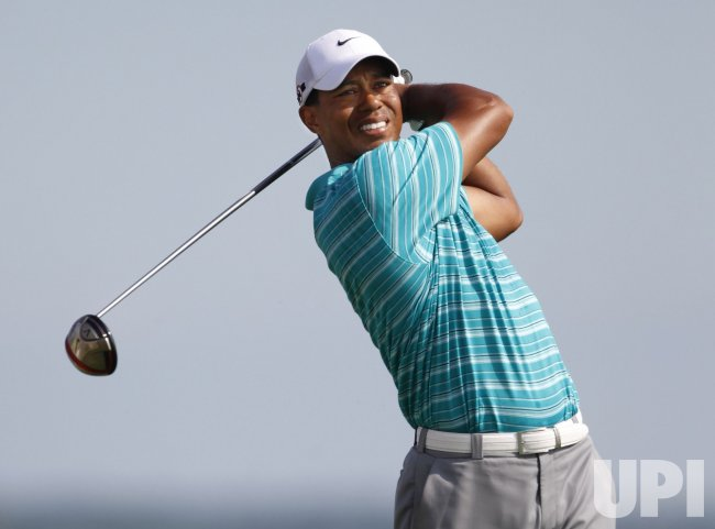Woods tees off on 16th hole during round 2 of the PGA Championship