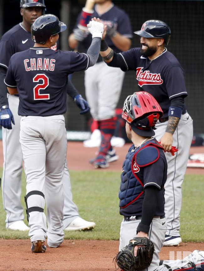 Cleveland Indians Yu Chang Celebrates Three Run Home Run During Intrasquad Game