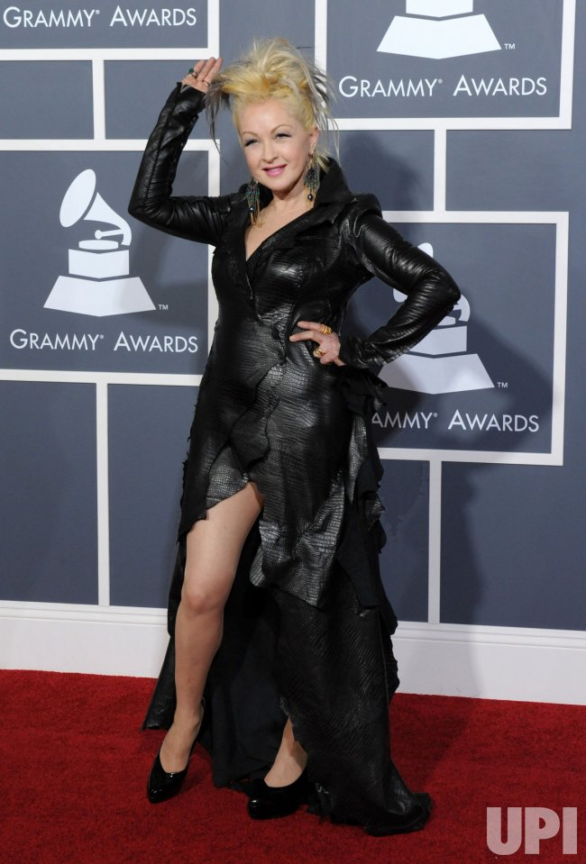 Cyndi Lauper arrives at the 53rd annual Grammy Awards in Los Angeles